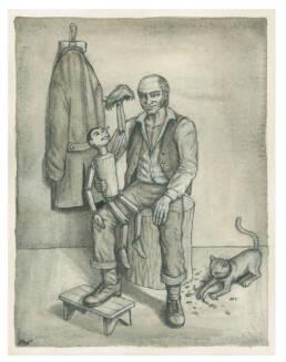 Geppetto e Pinocchio foto ricordo