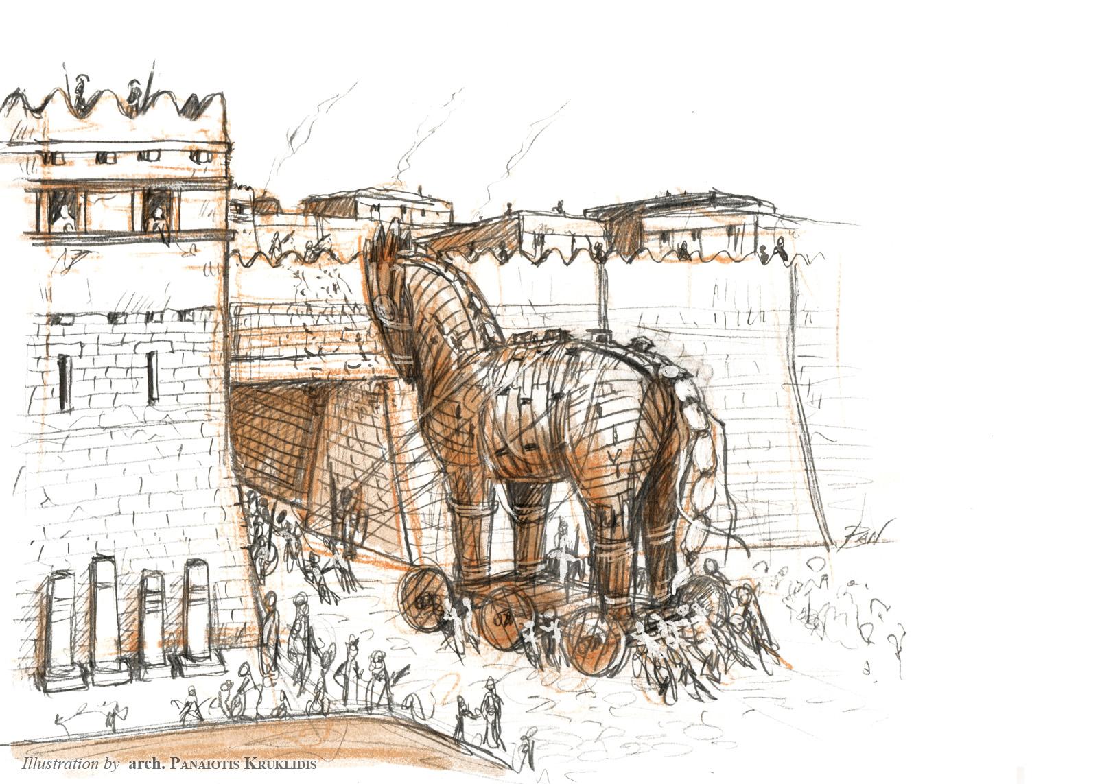 Scena ingresso del Cavallo a Troia (schizzo)