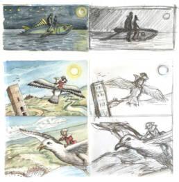 Le avventure di Pinocchio acquerelli, il Tonno e la Colomba