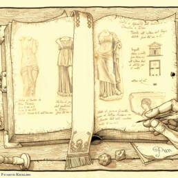 Libro antico aperto scrittura
