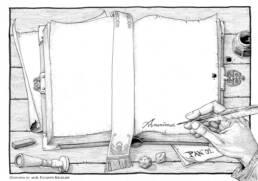 Libro antico aperto scrittura (pagina bianca)