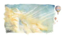 Nuvole e mongolfiere acquerello