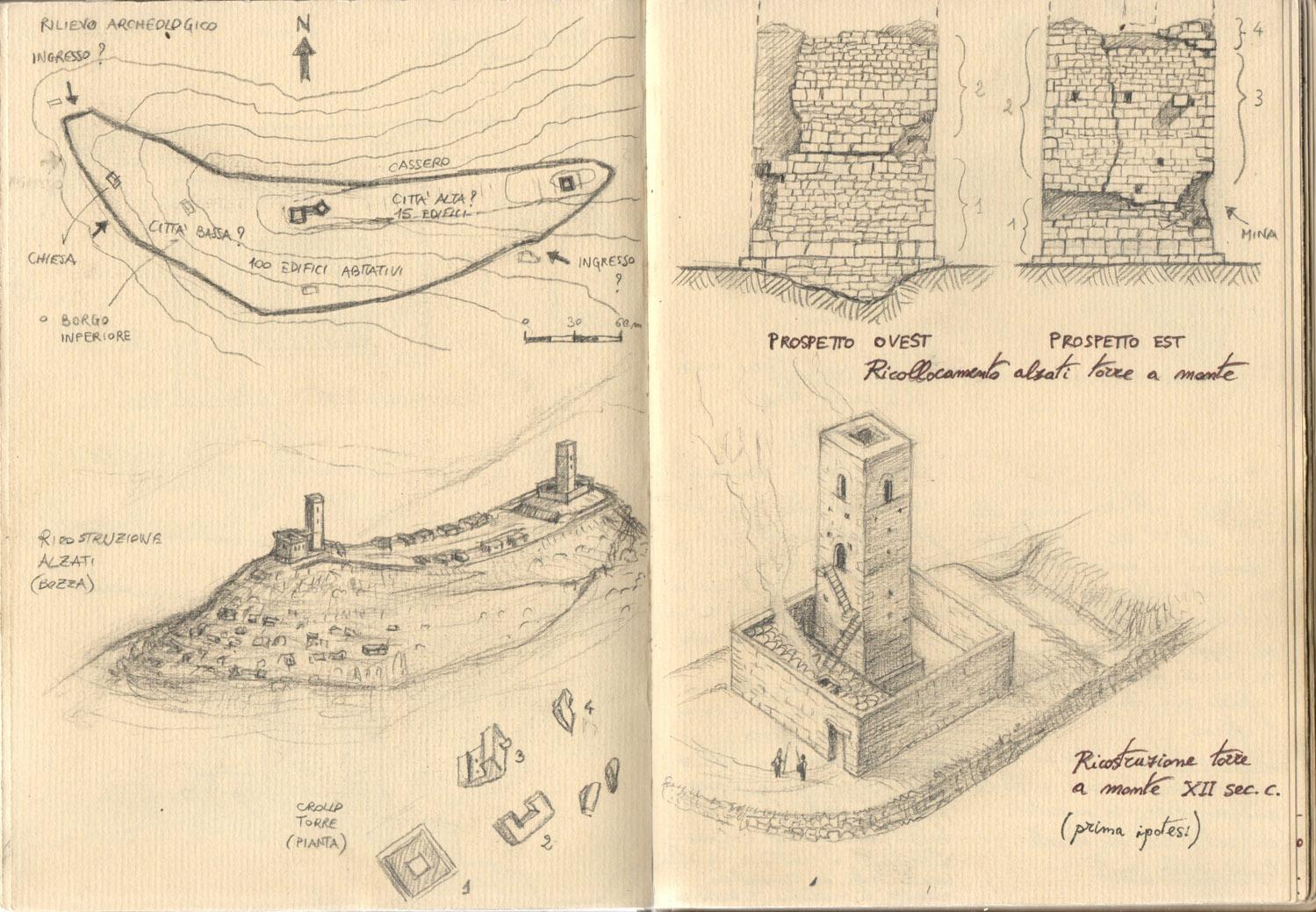Ricostruzione cassero medievale di Montecastrese (taccuino appunti 02)